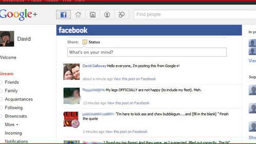 Google+Facebook Browser Extension Allows Facebook Viewing, Updating on Google+