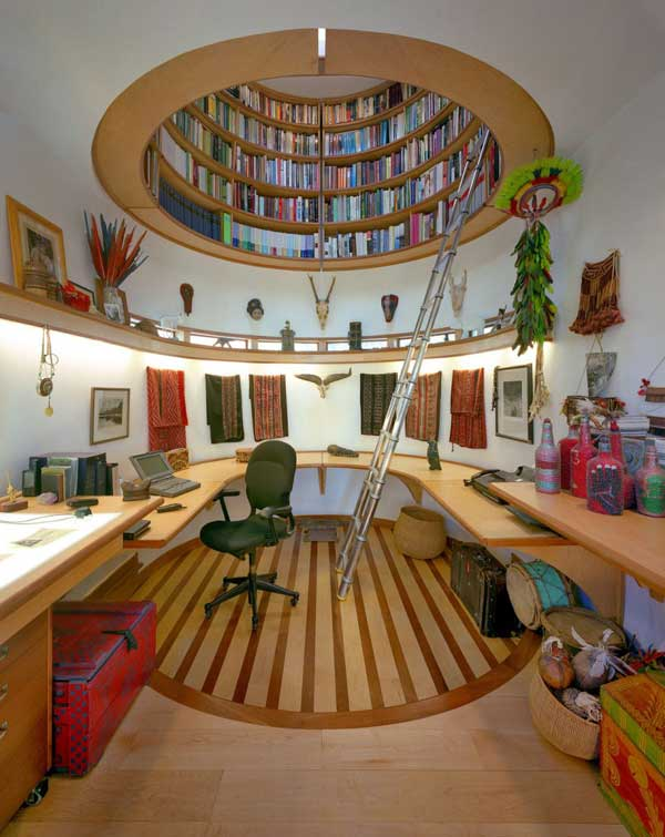 Wade Davis Writing Studio By Travis Price Architects Round Bookcase Hovering Above Davis Writing Studio