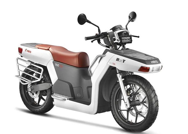 The Hero RNT is the world's first diesel electric hybrid scooter with two-wheel drive Photo: Hero