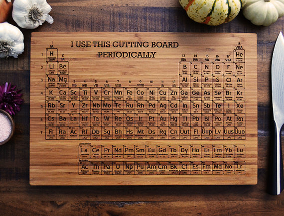 Periodic Table Engraved Bamboo Wood Cutting Board, Geekery Science Gift, Graduation or Wedding Gift, Chemistry Teacher, Student, Kitchen Art